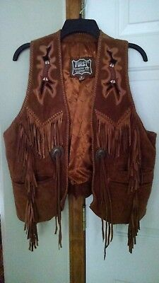 Vintage First Fringed Western Style Brown Suede Vest Beaded Unisex Lined Sz Sm
