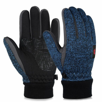 Women Men Thick Warm Knitted Gloves Cycling Fleece Lining Touch Screen Mittens