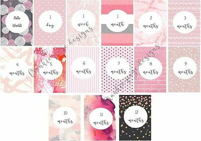 Shades of Pink Baby Milestone Cards - Pack of 15 - Baby Shower Gift