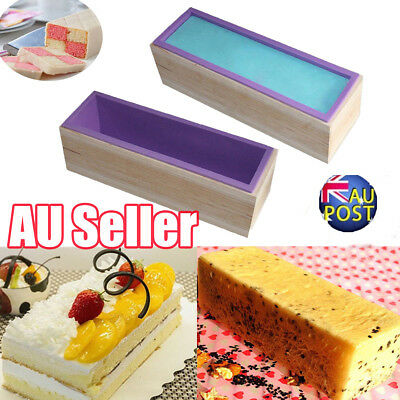 Wood Loaf Soap Mould with Silicone Mold Cake Making Wooden Box 1.2kg soap MN
