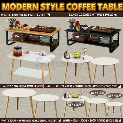 Coffee Table Wooden Top Storage Side Table Bedside Tables Round Lamp Home Office