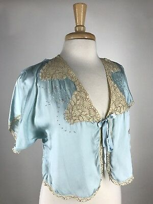 Pretty! VTG 30s 40s Icy Blue Embroidered Rayon & Silk Cropped Bed Jacket Robe S