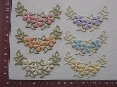 Die cuts - Embossed Flowers, Leaves x 6 Pastels - Sold Assembled