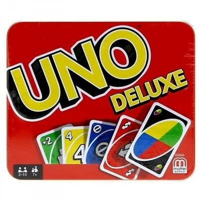 UNO DELUXE TIN PLAYING CARDS NEW 2 to 10 PLAYERS BRAND NEW FREE POST
