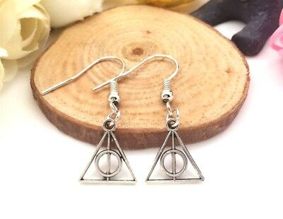 1 Pair of Antique Silver Harry Potter Earrings Dangle Deathly Hallows Jewelry