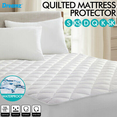 Fitted Cotton + Microfiber Quilted Mattress Protector Topper Waterproof All Size