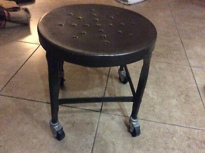 Toledo Metal Furniture Co. Industrial Uhl Steel Shop Stool With Casters - Gray