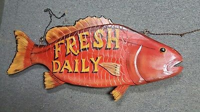 Large Colorful 3-D Vintage 2-sided Fish Seafood Restaurant Sign circa 1990's