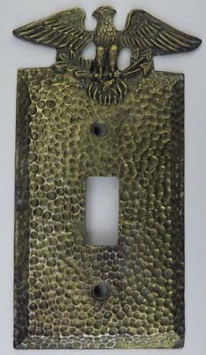 Vintage EAGLE Single Light Switch Plate Cover - Cast Metal Brass