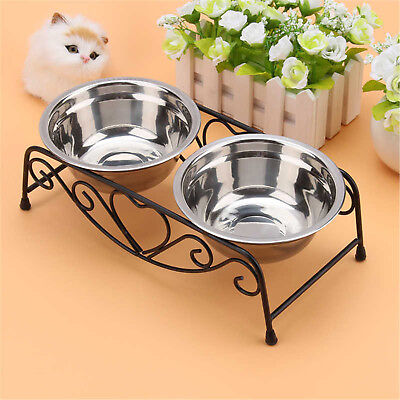 Double Dog Cat Pet Bowls Dish Stainless Steel Stand Feeder Food Water Iron Bowl