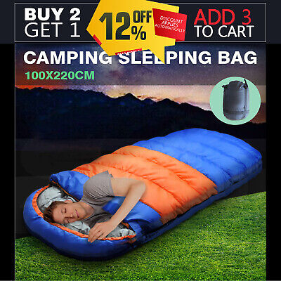 220x100CM Camping Sleeping Bag Outdoor Thermal Hiking Tent Winter King Size