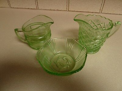3 items of green glass