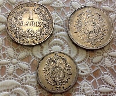 1874 'H, AND F Germany - 2x Mark Silver coin - 50 Pfennigs