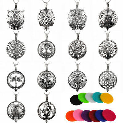Chic Aromatherapy Essential Oil Locket Scent Perfume Diffuser Pendant Necklace