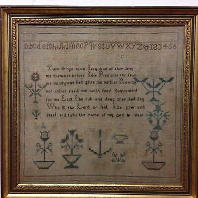 Fine Antique Early 19th Century Needlework Sampler With Biblical Passage