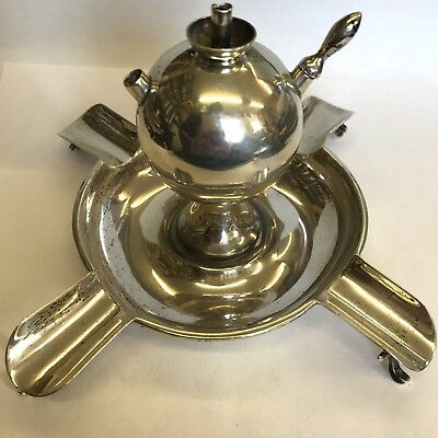 Antique Solid Silver 4 Cigar Stand Ashtray & Lighter Combination 1901 Goldsmiths