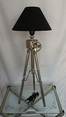 Nautical Tripod Table Wheel Shade Lamp Vintage Home Decor Item