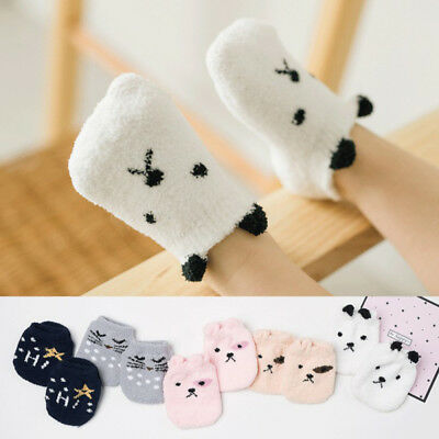 Baby Girl Boy Anti-slip Warm Socks Cartoon Newborn Slipper Shoes 1-2Years