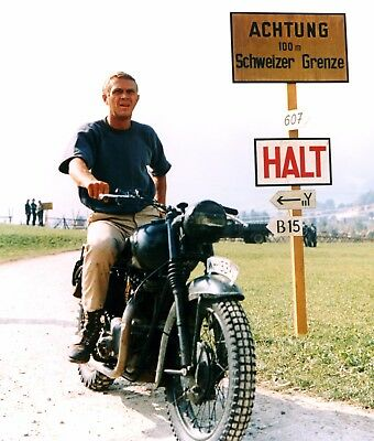 Steve McQueen on a motorcycle Great Escape movie still  Photo reprint  A4 or A5