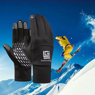 Winter Outdoor Warm Fleece Lined Thermal Full Fingers Touch Screen Gloves IPX 4