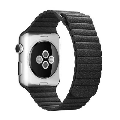 For Apple Watch 42mm Loop Magnetic Closure Clasp PU Leather Watchband(Black)