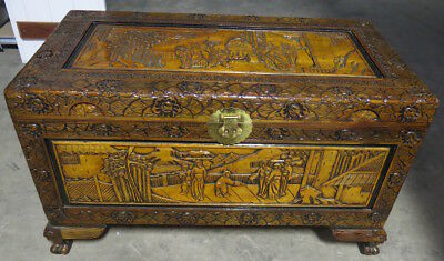 Large Hand-Carved Chinese Camphor Wood Chest