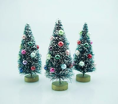 Vintage Inspired Bottle Brush Trees with Glass Ornaments-Set of 3-Mini-Multi