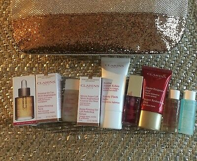 Clarins Runway Beauty Gift Set-Travel Size! Full Size Lip Oil~9 Products New!