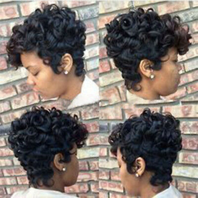 Women Curly Short Wigs Black Brown Pixie Cut Synthetic Hair Wigs For