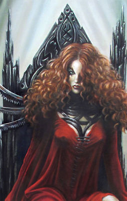 ORIGINAL ART OIL PAINTING Canvas Dark Fantasy Queen mage Gothic Illustration