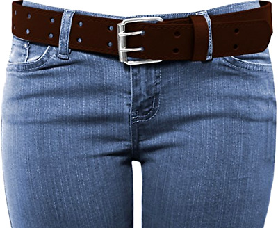 Thick Wide Women Genuine Leather Brown Belt Double Prong Top Quality Free Buckle