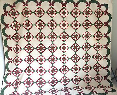 Antique Collector Quilt Christmas Star  c1860. Exceptional Quilting!