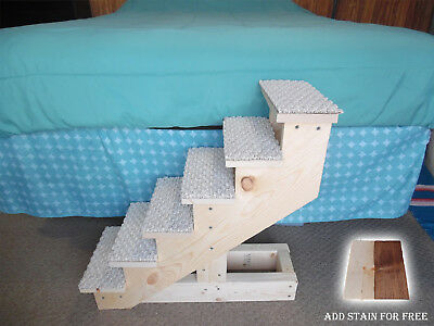 "Pet Stairs Pet Steps Handmade Wooden 24"" H x 10"" W Cat Puppy Dog Stairs New"