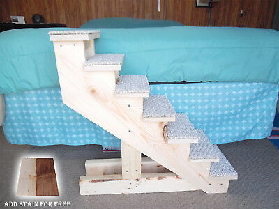 "Pet Stairs Pet Steps Handmade Wooden 28"" H x 10"" W Cat Puppy Dog Stairs New"