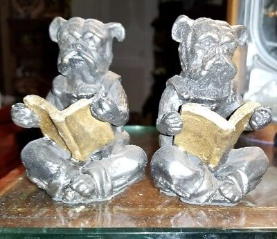 Antique Cast Iron Bulldog Statue Dog Figure Reading  Bookend Vintage REDUCED