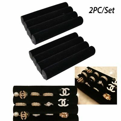 2 Sets of Finger Black Velvet Ring Trays Accessory Foam Pads Jewelry Holder 5.5