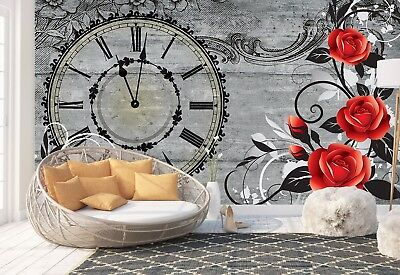 Wall Mural Photo Wallpaper Picture EASY-INSTALL Fleece Clock with flowers Poster