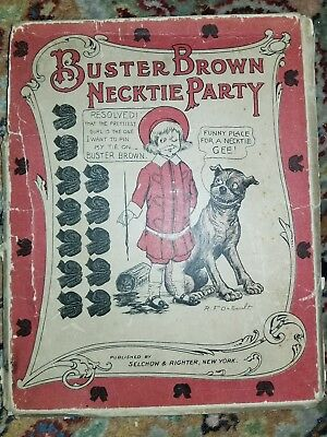 Antique Buster Brown Cloth Necktie Party Pin The Tie Poster Antique Game REDUCED