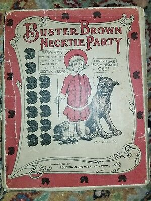 Antique Buster Brown Cloth Party Pin The Tie on Girl Dog Poster Antique Game OLD