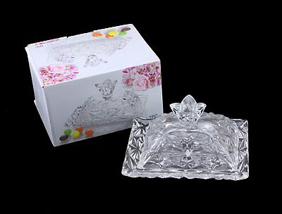 Good Quality Glass Butter Dish With Lid & Handle Crystal look Butter Dish