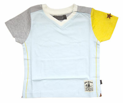 Ollie & Scott Boys Aqua Blue Yellow Nuttal SS Tee EU Size 92 UK 2yr NEW