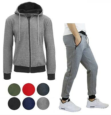 Mens Tech Fleece Hoodie and Jogger Set Slim Fit Zip Up Lounge Active Sizes S-XXL