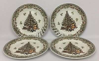 4 Queen's Season's Greetings Myott Factory Archive Xmas Tree Dinner Plates 10""