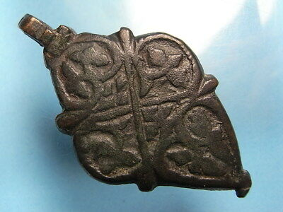 European Medieval 15th Century Decorated Bronze Horse Harness Pendant. (A1058)