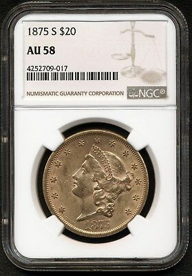 1875-S $20 Gold Coin Certified By Ngc Au58