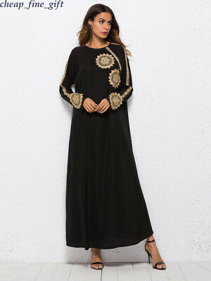 Dubai Embroidered Formal Dress Abaya Muslim Maxi Kaftan Arab Islamic Women Robe