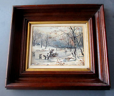 ANTIQUE 19th Century FOLK ART Watercolor Painting SKATERS on LAKE Walnut Frame