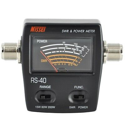 NISSEI RS-40 Power SWR Meter Measurable Range 200W for Two Way Radio with Adapte