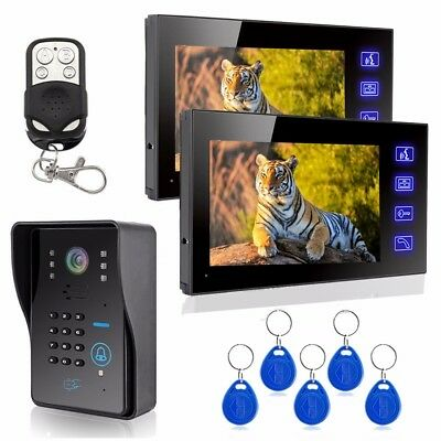 7inch LCD Wired Video Door Phone Doorbell Intercom System RFID Keyfbobs IR Camer