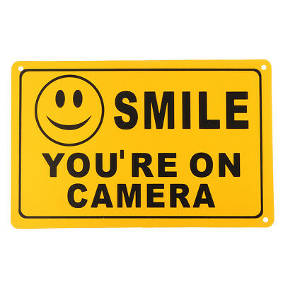 2Pcs SMILE YOU'RE ON CAMERA Warning Security Yellow Sign CCTV Video Surveillance